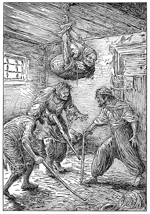 Three men in a room try to locate the fourth one who is hanging from the ceiling on a rope