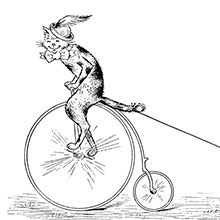 A cat wearing a feathered hat rides a penny-farthing, towing three kittens on roller-skates