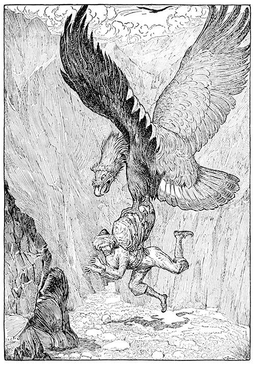 A gigantic eagle swoops and picks up a man in its claws, ready to carry him away