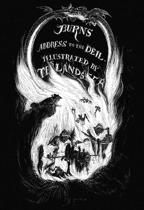 Illustrated title for An Address to the Deil showing a man peering into one of Hell's chambers