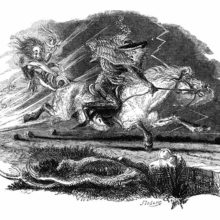 A man runs away on the back of a galloping horse, look in fright at the creature behind him