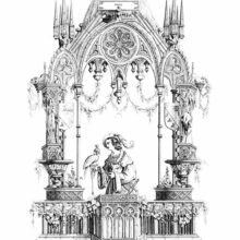 Gothic ornamental composition showing a man on a balcony with a bird of prey on his hand