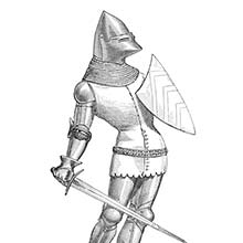 Medieval soldier carrying shield and sword and wearing a bascinet, a mail coif, and a jupon
