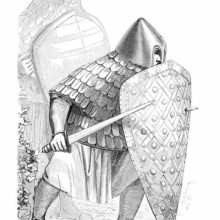 Eighth-Century foot soldier wearing a coat of plate and covers himself with a kite shield