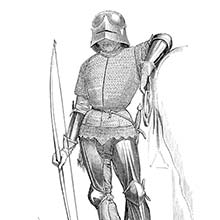 A Fifteen-Century mounted franc-archer stands with his bow, leaning on his horse