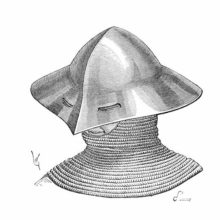 Medieval kettle hat with eyeholes and worn over a mail coif extending to the shoulders