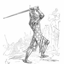 Fourteenth-Century soldier wearing a bascinet, a surcoat, and wielding a longsword with two hands