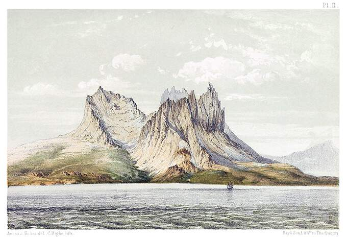 A circular group of mountains with jagged summits slopes down toward the Norwegian Sea