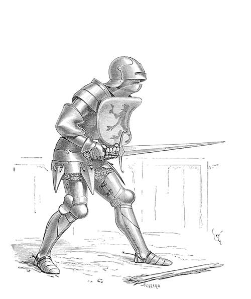 Fourteenth-Century soldier wearing plate armor, a sallet, and armed with a longsword and a shield