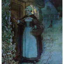 A woman tugs at the bell-pull of a front door as light shines through a window behind her