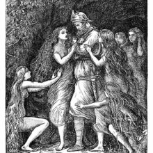 Tannhäuser stands at the entrance of a grotto, surrounded by women trying to make him stay