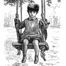A boy with sad eyes and a feathered hat is sitting on a swing