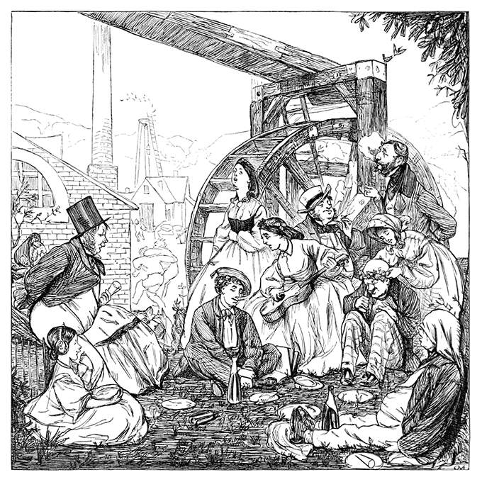 A group of people is seen at the end of a picnic by a large water-wheel, smoking, singing, etc.