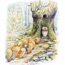 A procession of squirrels walks on a path leading to an owl sitting at the foot a its tree