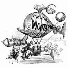 A man aboard a fish-shaped balloon is seen disseminating flyers through a cannon-shaped device