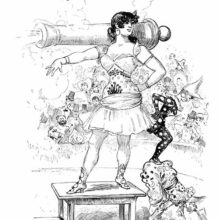 A woman stands on a small table in a circus ring with a firing cannon on her shoulders