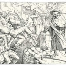 Fifth plate of Rethel's Dance of Death showing Death on a barricade as insurgents fall fighting