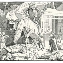 Sixth woodcut of Rethel's Dance of Death showing Death riding a horse after an insurrection