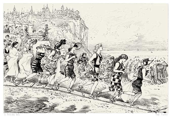 A single file of women in bathing suits trots down a narrow walkway on its way to a crowded beach
