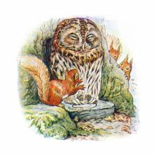 A sleepy owl sits with mice in its claws, heedless of the squirrels fluttering about