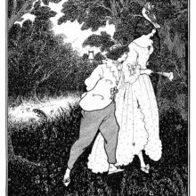 A tall young woman with a hat and a fan walks in the woods with a shorter young man at her side