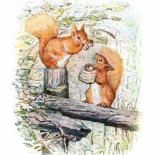 Two squirrels are sitting on a fence, one picking hazel nuts, the other holding out a tiny bag