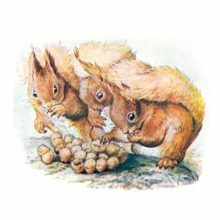 Three squirrels are pressed together around a small heap of hazel nuts