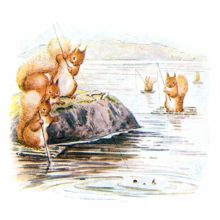 Squirrels are seen fishing in a lake, some standing on a rock, others on small rafts