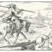 Plate two of Rethel's Dance of Death shows Death traveling on horseback toward a walled city