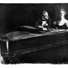 A woman sitting at a grand piano plays and sings under the gaze of a man leaning beside her