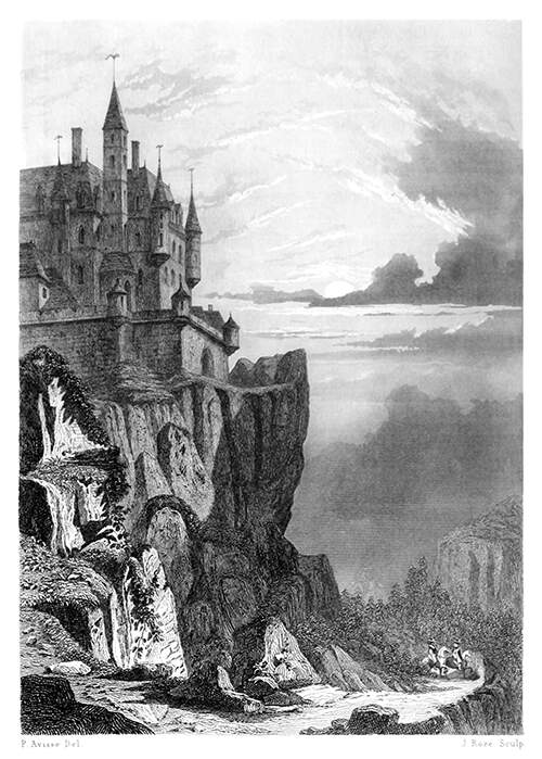 Landscape with a medieval castle standing on the edge of a cliff