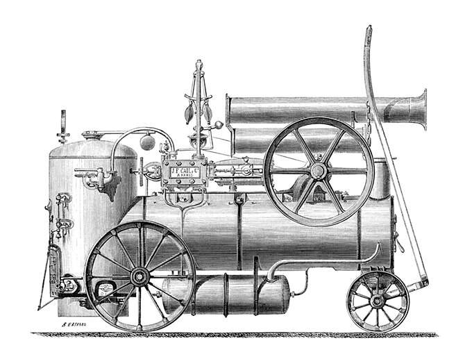 Side view of a portable steam engine built by the Cail Company