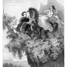 A woman rides a horse rearing up on the edge of a cliff as a man tries to control the animal