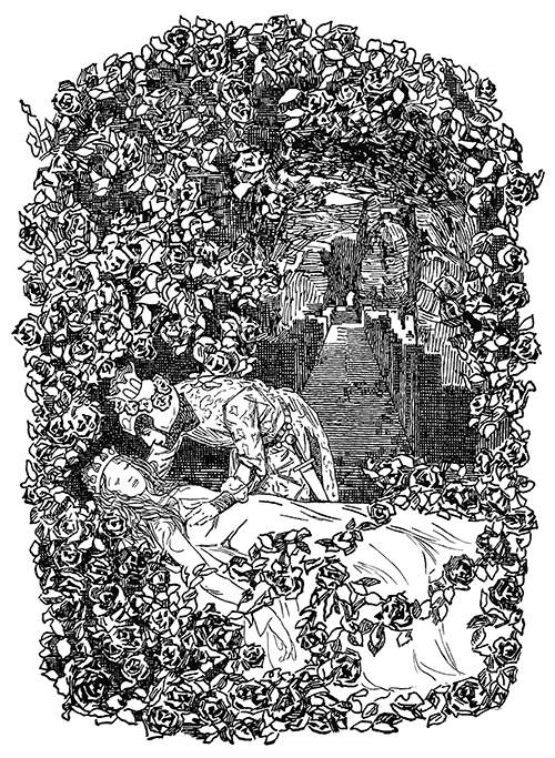 Behind a rose bush which frames the scene, the prince leans over Briar-Rose to give her a kiss