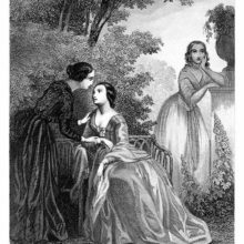Three women are seen in a park, one chatting with another, the third one standing pensively apart