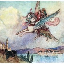 A woman and a man with a parrot on his shoulder ride winged horse flying over a wide river