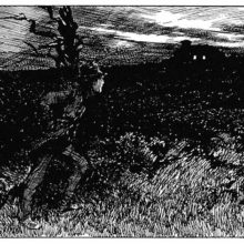 A man taking a walk on a moor looks from a distance at the light coming from two windows
