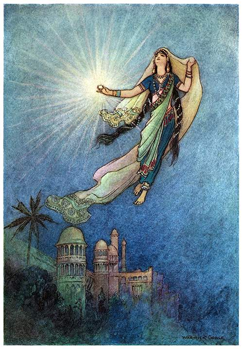 A woman floats in the air, a radiant gem shining in her hand as she looks up toward the sky