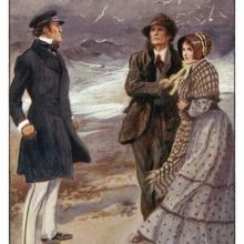 A couple stands on a windy beach, facing an angry man wearing a cap