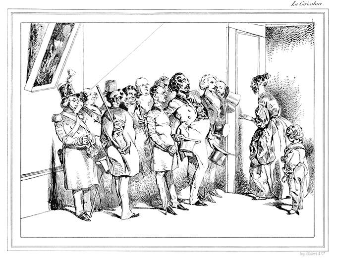 A woman stands in a doorway, faced with the task of greeting her husband and his many friends