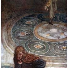 Two characters are seen from above moving away from each other in a room with ornate flooring