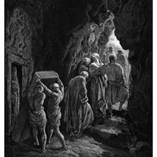 Two men lift a slab to close Sarah's tomb as Abraham looks back one last time from the entrance