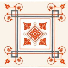 Color plate showing a square design combining geometric elements with scrolls and foliage
