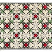 Color plate showing a symmetrical pattern with foliage and floral designs