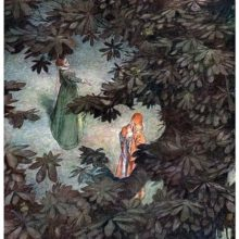 A woman and her interlocutor are seen from above, through the branches and leaves of a tree