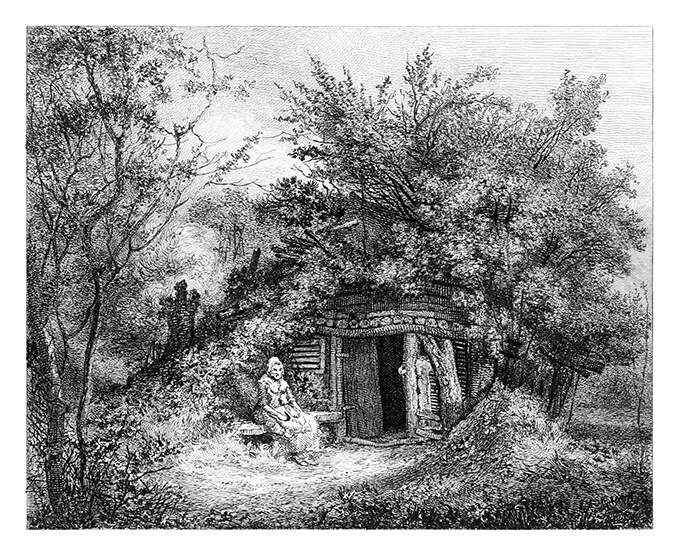 A woman is sitting on a bench outside a cottage merging with the trees and vegetation around