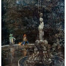 A jester suit is seen from behind sitting with another character on the farther edge of a fountain