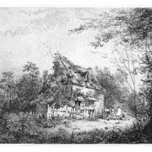 Three figures can be seen outside the palisade surrounding a picturesque rustic cottage