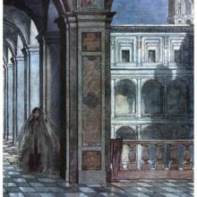 A veiled woman walks at night along a colonnade in the upper floors of a palace