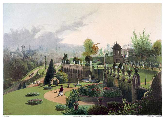 Alton Towers terraced Gardens with the colonnade, a fountain, flowerbeds, and scalloped walls